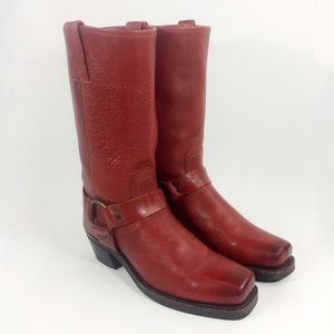FRYE 77305 D Harness Red Motorcycle Boot Size 9.5